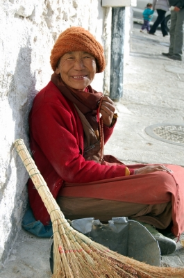 Smiling Nun at Drepung Monastery