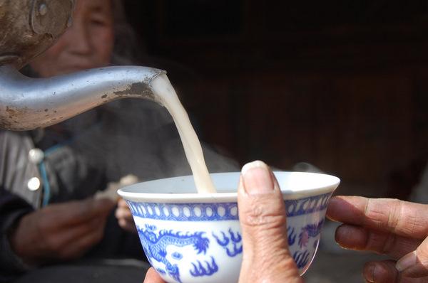 Drinking tea in Tibet