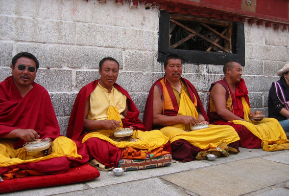 Jokhang Monks in Lhasa, Tibet