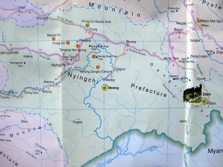 Nyingtri Prefecture Tibet Autonomous Region Map
