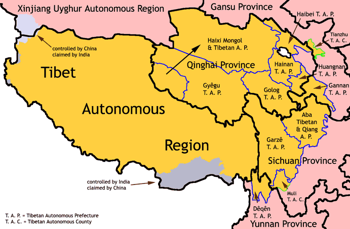 Tibetan autonomous entities in China