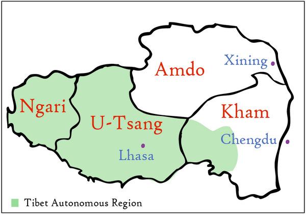 Map of Tibet Regions (Amdo, Kham, U-Tsang, Ngari)