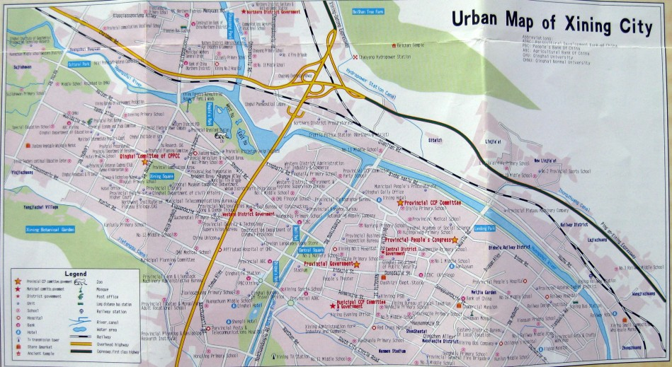 Xining, Qinghai, China Map